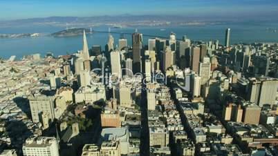 Aerial view of San Francisco and Bay bridge America, USA