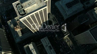 Aerial vertical view of rooftop skyscrapers USA