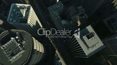 Aerial vertical view of rooftop skyscrapers, USA