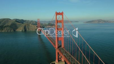 Aerial view of road traffic, Golden Gate Bridge, San Francisco, USA