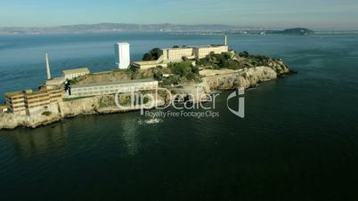 Aerial view of the Island of Alcatraz, USA