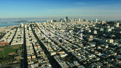 Aerial landscape view of the districts and city of San Francisco, USA