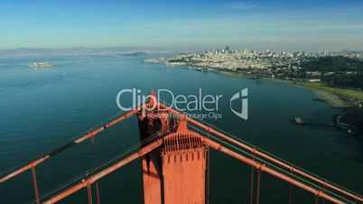 Aerial view over the Golden Gate bridge, San Francisco, USA
