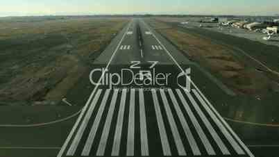 Aerial view of an a plane landing