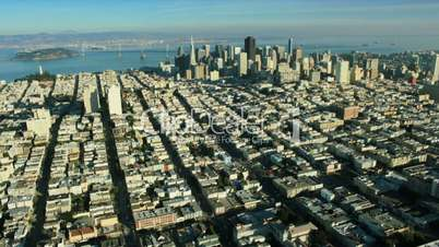 Aerial landscape view of the districts of San Francisco, USA