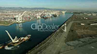Aerial view of container dock, San Francisco, USA