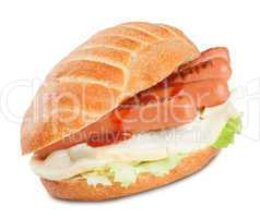 sandwich with sausage ketchup salad and mozzarella cheese