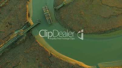 Aerial view of swing bridge constructed over salt ponds