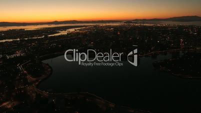 Aerial night view of the container Port of Oakland, USA