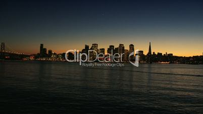 Aerial sunset view of the city and Port of San Francisco, USA