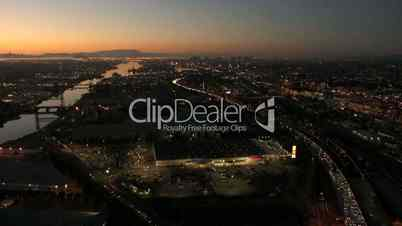 Aerial sunset view of the Port of Oakland, San Francisco, USA