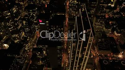 Aerial night illuminated view of a busy metropolis, USA