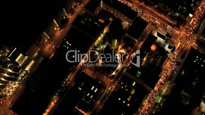 Aerial vertical view at night of city traffic, USA