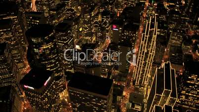 Aerial night Metropolis view of illuminated city, San Francisco, USA