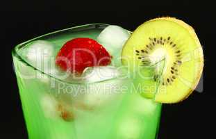Mint drink with strawberries and kiwi