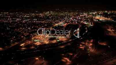 Aerial night view of the illuminated Container Port of Oakland, San Francisco Bay, USA