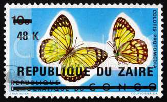 postage stamp zaire 1977 yellow splendour tip, butterfly
