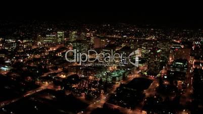 Aerial night illuminated cityscape, North America