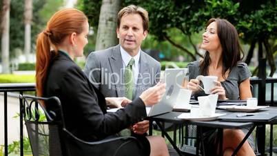 Smart Business Executives Meeting Outdoors