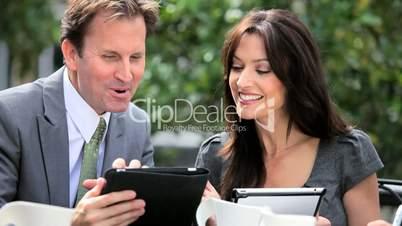 Management Team Good News via Tablet