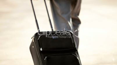 Businessman with Smart Phone and Travel Luggage