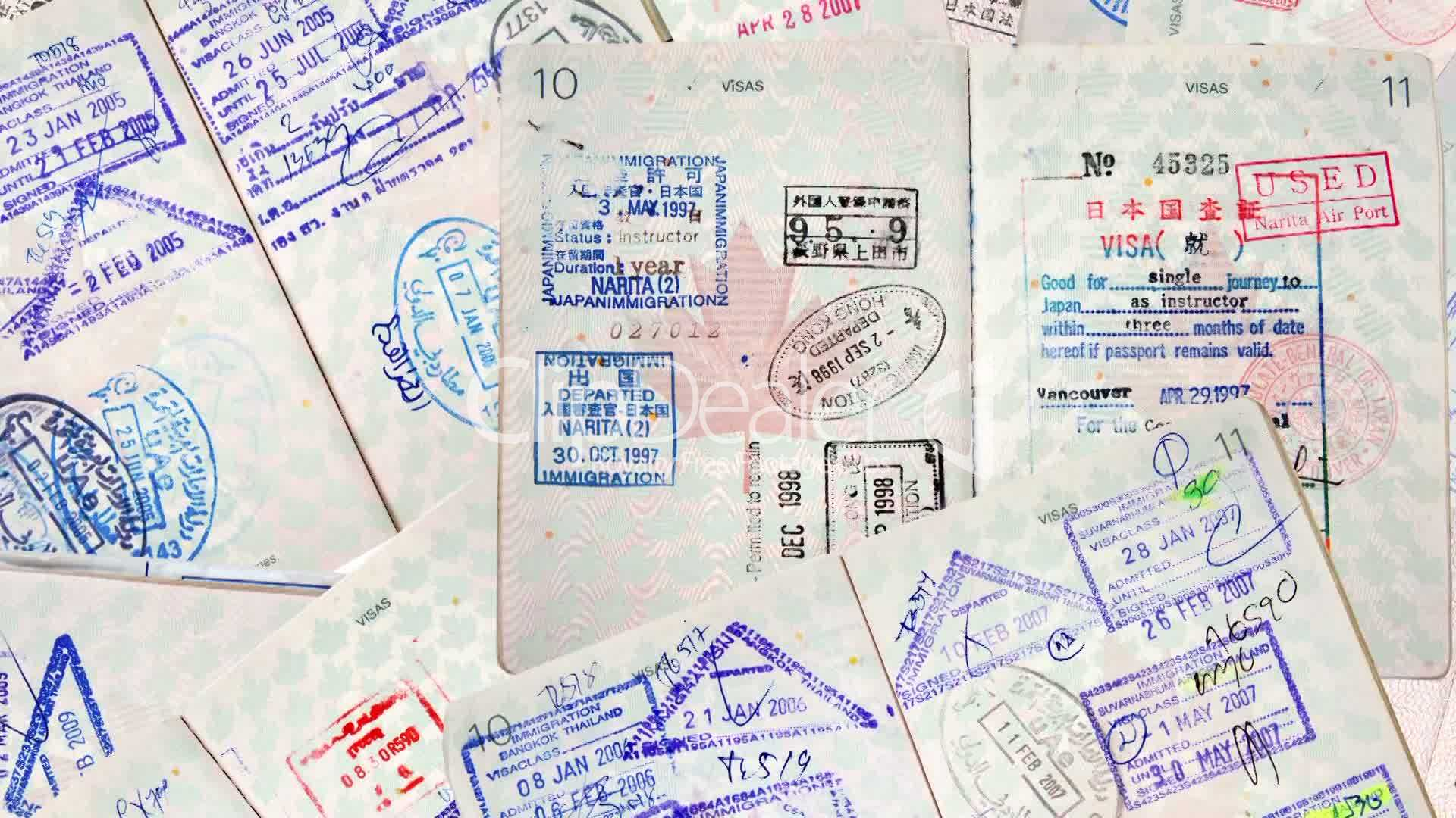 Passport International Travel Stamps Royalty Free Video