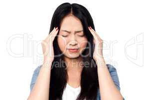 Young girl having headache