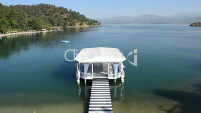 Relaxation building near beach on Mediterranean turkish resort, Fethiye, Turkey