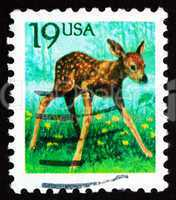 postage stamp usa 1991 fawn, young deer