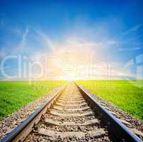 Railway in field