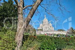 Paris. Wonderful view of Sacred Heart Cathedral. Le Sacre Coeur