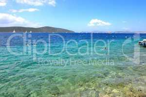 Turquoise water near beach on Mediterranean turkish resort, Bodr