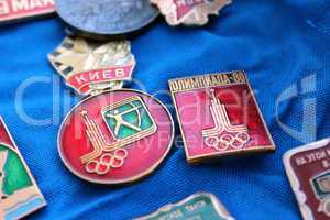 set of soviet badges about olympiad in moscow 1980