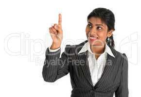 Indian businesswoman finger touching virtual transparent screen