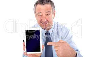 Businessman shows on Tablet PC