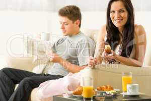 Young couple spending morning time together