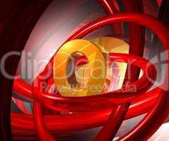 buchstabe und rote ringe