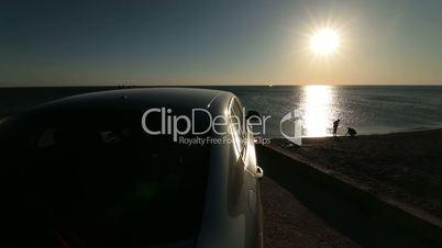 Summer Travel Destination - Car Arriving At The Beach