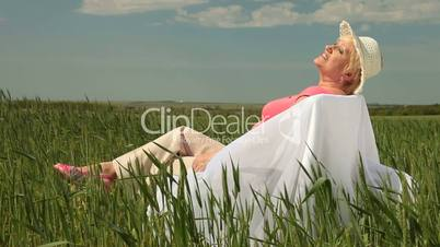Senior lady enjoying summer holidays