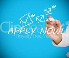Businessman writing apply now message