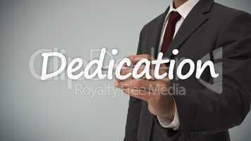 Businessman writing dedication
