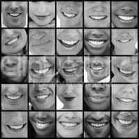 Collage of people smiling in black and white