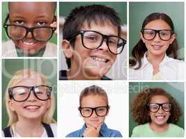 Collage of cheerful pupils