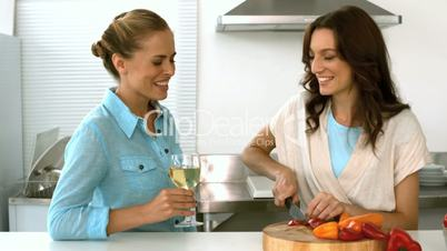 Friends laughing together while one is preparing the dinner