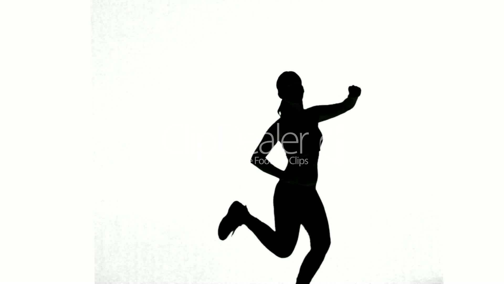 Silhouette of woman working out on white background ...