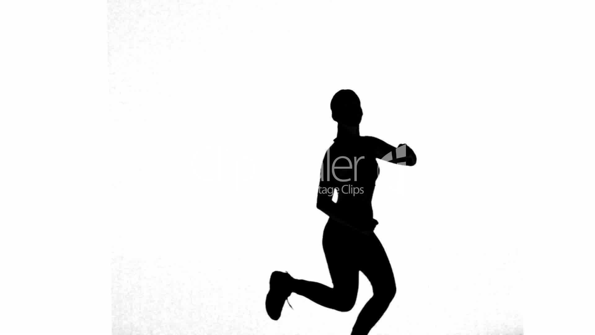 Silhouette Of Woman Working Out On White Background -1169