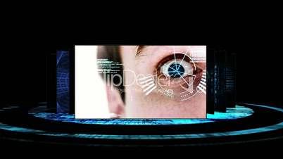 Futuristic screens showing computing science scenes