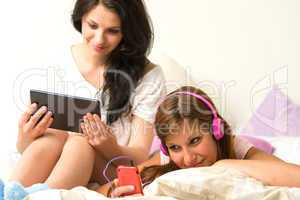 Friends listening music, reading in the afternoon