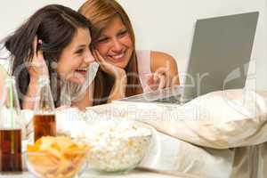 Teenagers friends enjoy movie night