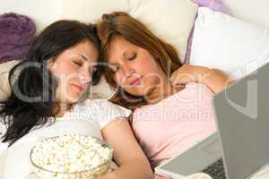 Friends fell asleep during watching a movie